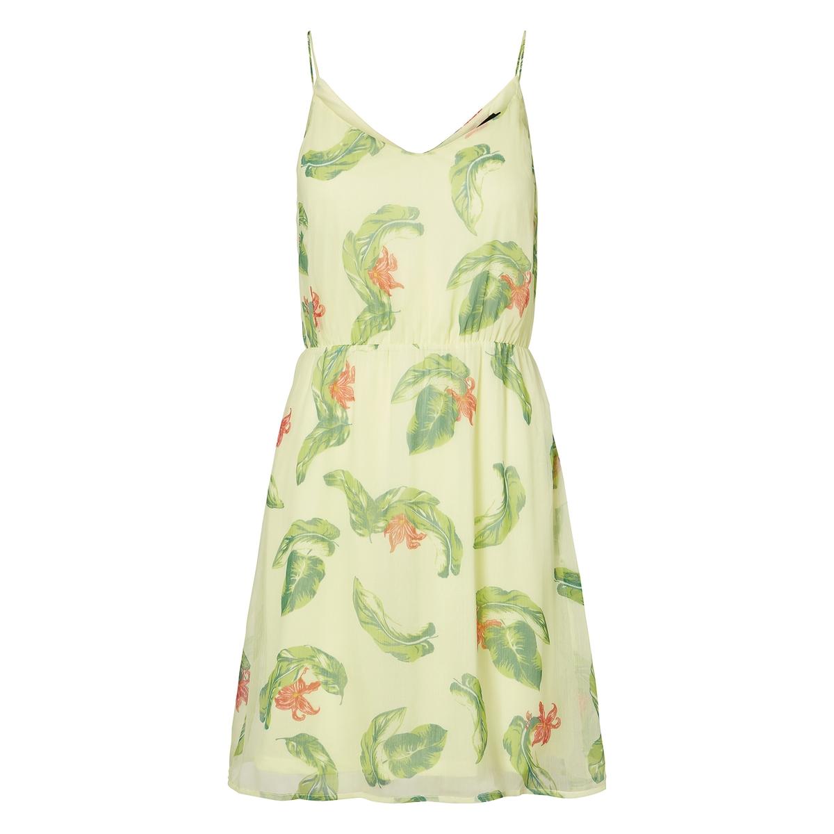 Платье с V-образным вырезом спереди и сзади, на тонких бретелях полуприлегающее платье с v образным вырезом gf ferre платья и сарафаны мини короткие