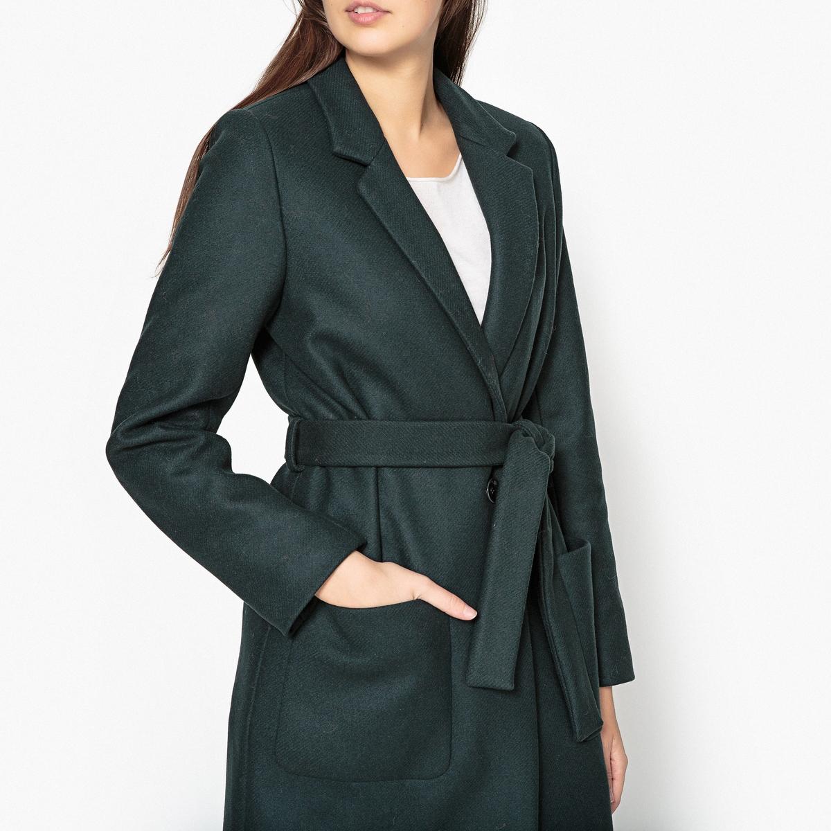 Пальто прямое с поясом MARCELINПрямое пальто SESSUN - модель  MARCELIN с поясом, смесовый шерстяной материал.Детали •  Длина : средняя •  Шалевый воротник •  Без застежкиСостав и уход •  80% шерсти, 20% полиамида •  Следуйте советам по уходу, указанным на этикетке<br><br>Цвет: темно-зеленый