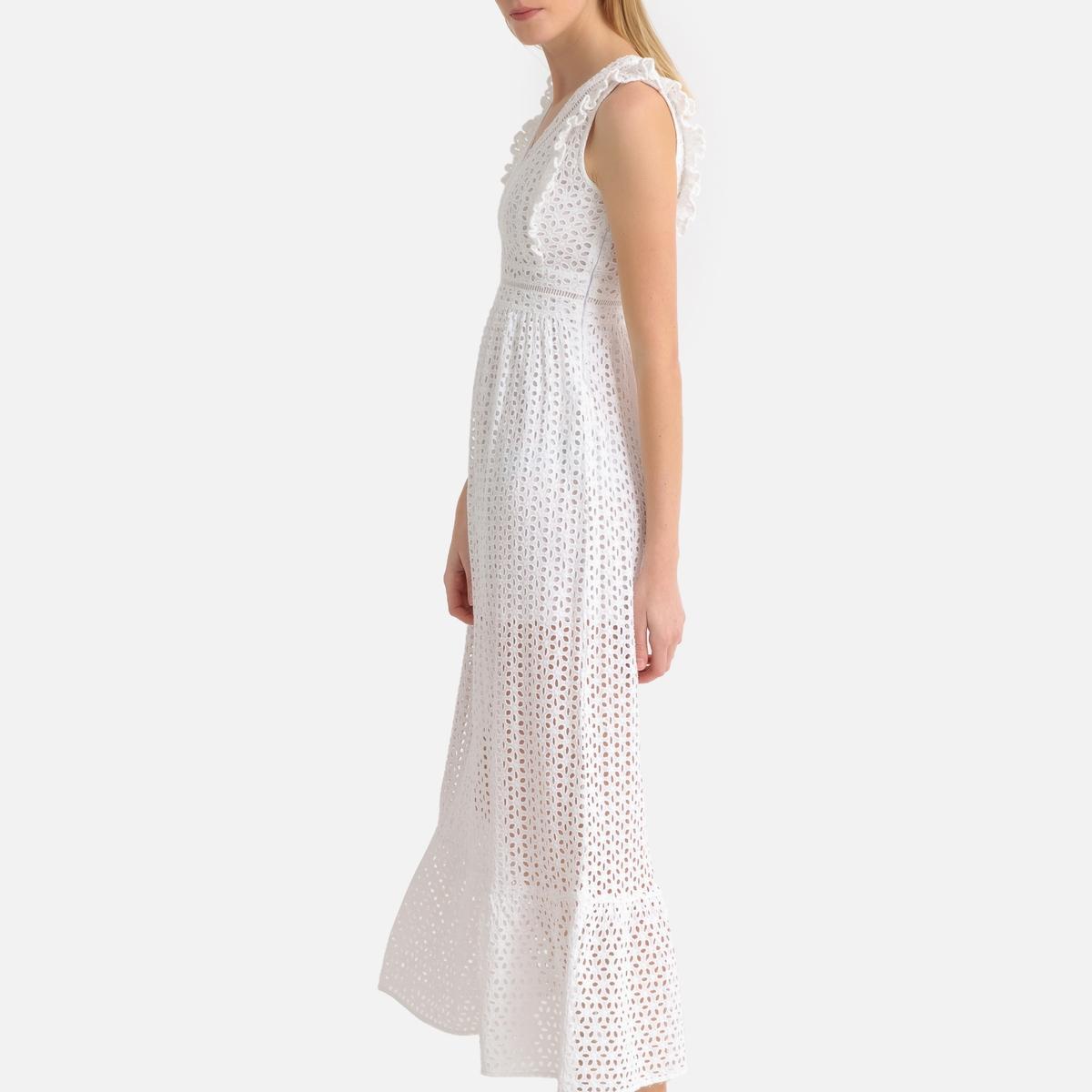 цена Платье La Redoute Длинное с вышивкой и V-образным вырезом без рукавов L белый онлайн в 2017 году