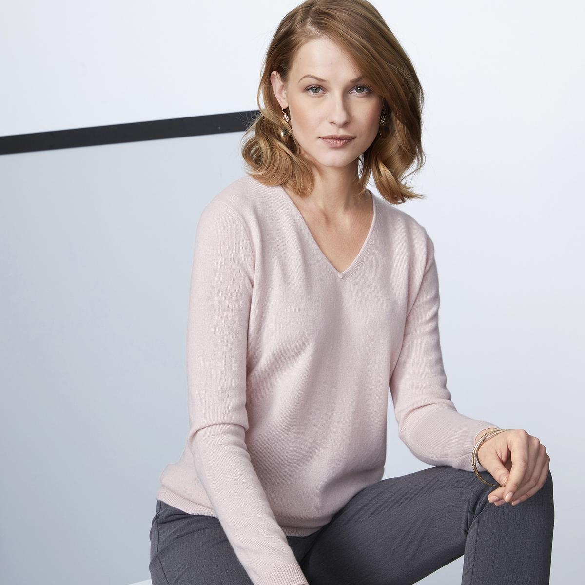Imagen secundaria de producto de Jersey con cuello de pico de punto fino, 100% cachemir - Anne weyburn