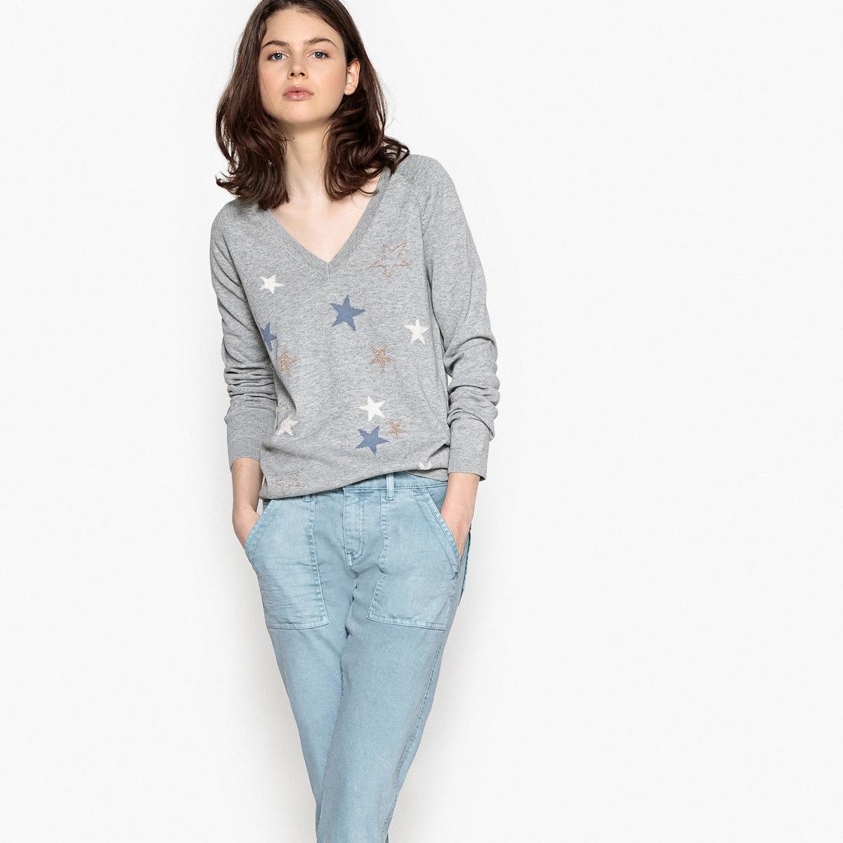 Пуловер с V-образным вырезом MIAZUДетали •  Длинные рукава •   V-образный вырез •  Тонкий трикотаж  •  Графичный рисунокСостав и уход •  100 % хлопок •  Следуйте советам по уходу, указанным на этикетке<br><br>Цвет: серый