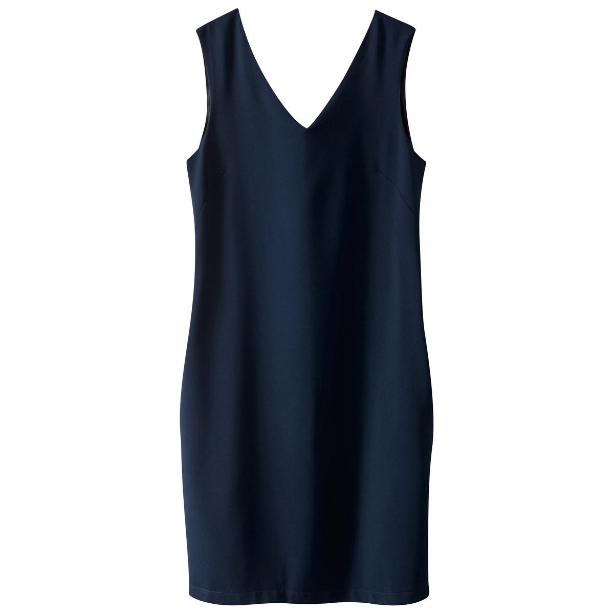 Платье без рукавов с V-образным вырезомМатериал : 100% полиэстер   Длина рукава : короткие рукава   Форма воротника : Круглый вырез  Покрой платья : платье прямого покроя       Рисунок : однотонная модель    Длина платья : короткая<br><br>Цвет: синий морской