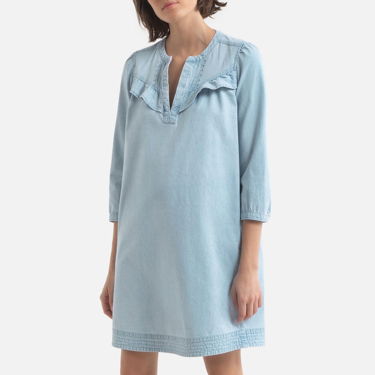 Платье LaRedoute Короткое прямое с длинными рукавами 42 (FR) - 48 (RUS) синий платье la redoute короткое расклешенное в горошек с ажурными бретелями 42 fr 48 rus синий