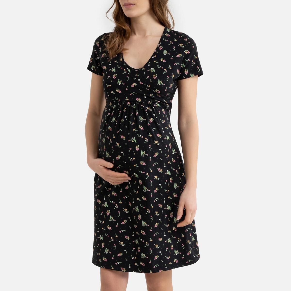 Рубашка LaRedoute Ночная для периода беременности с принтом из биохлопка 34/36 (FR) - 40/42 (RUS) разноцветный брюки laredoute для периода беременности из велюра velvet 42 fr 48 rus бежевый