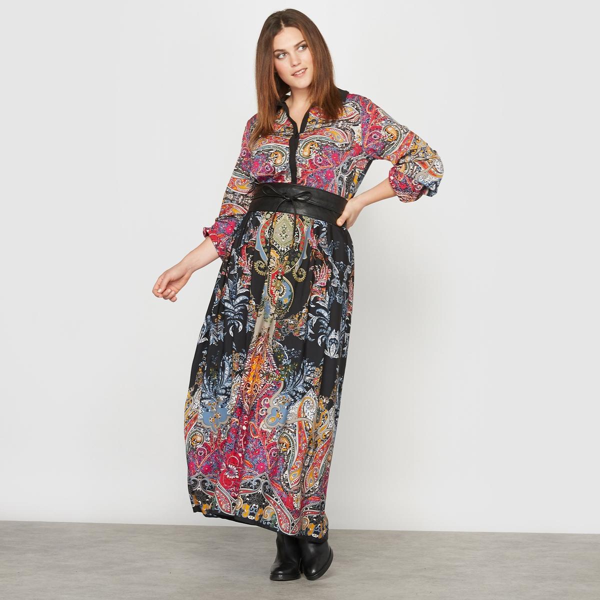 Платье длинное с рисункомСостав и описание :Материал : струящаяся ткань 100% полиэстера, торс на подкладке.Длина : 147 см. Марка : CASTALUNA.Уход : Машинная стирка при 30 °C.<br><br>Цвет: рисунок платочный<br>Размер: 50 (FR) - 56 (RUS)