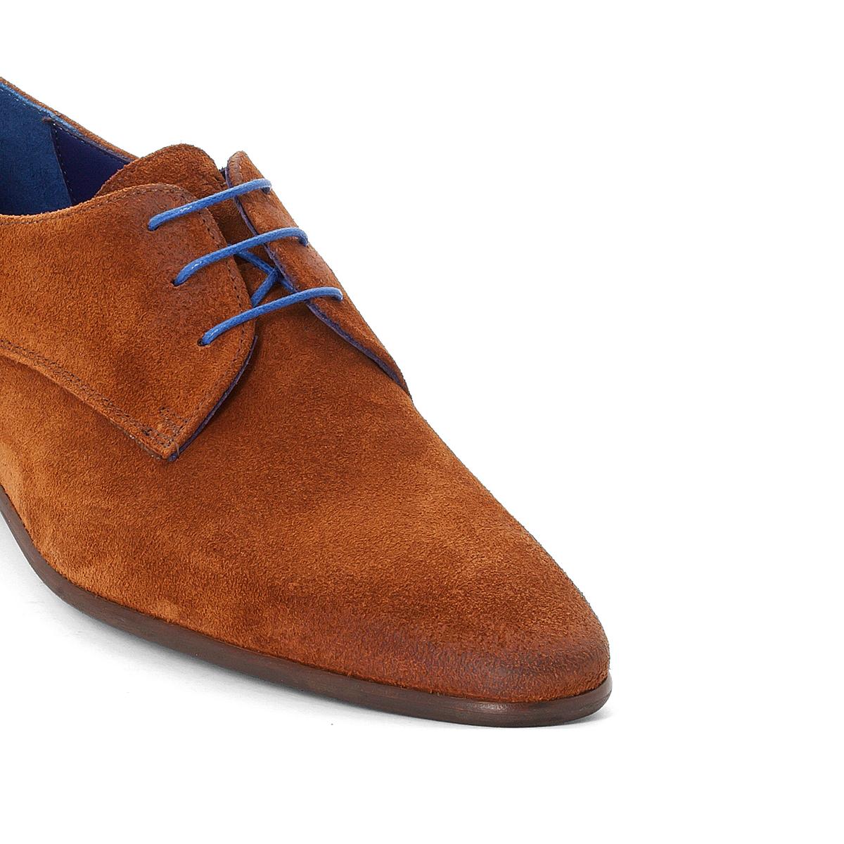 Дерби JossoВерх : ВелюрПодкладка : Кожа - ТканьСтелька : кожа   Подошва : Эластомер   Высота каблука : 2 см   Застежка : Шнуровка<br><br>Цвет: коньячный<br>Размер: 43