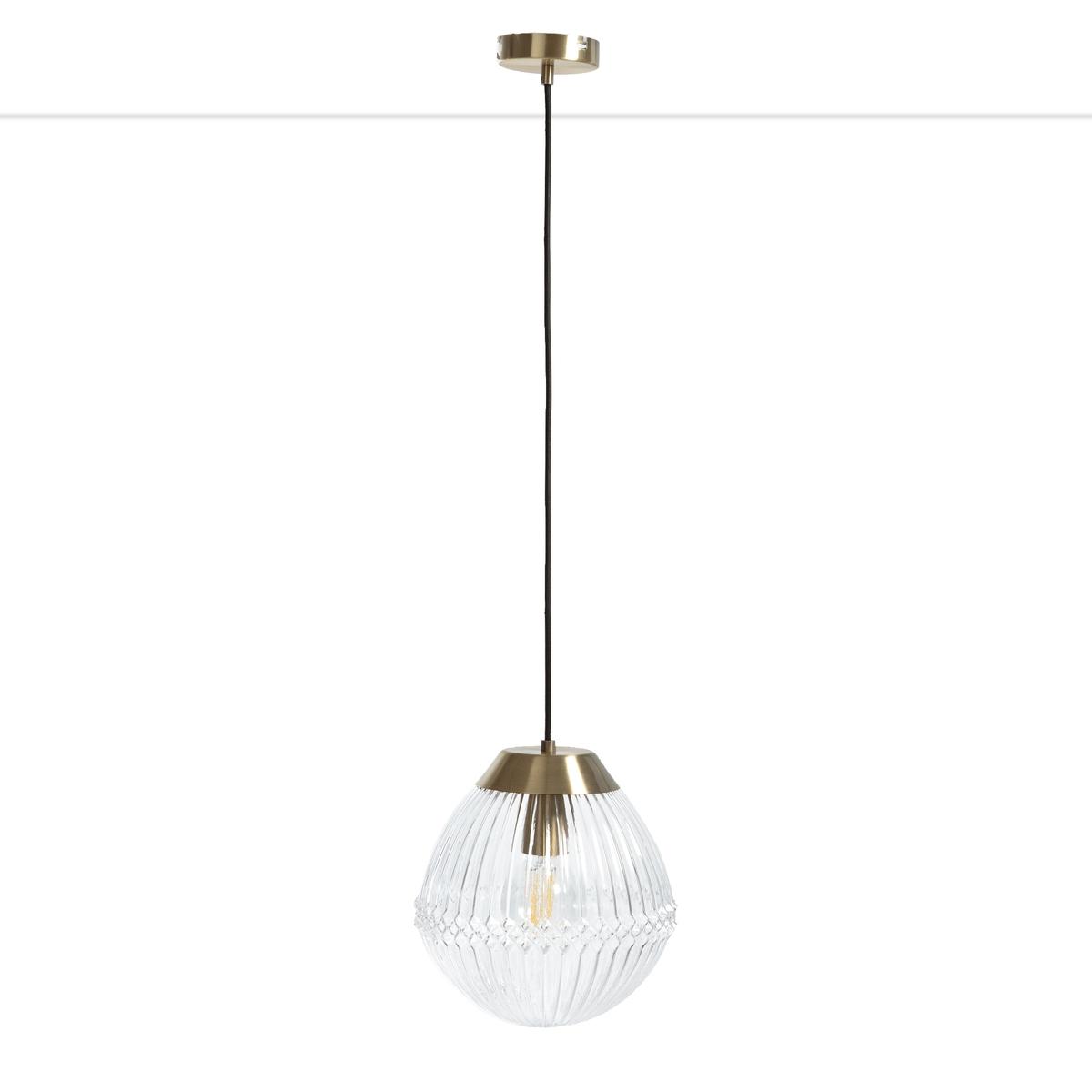 Ari Vintage Pendant Ceiling Light In Brass & Ribbed Glass