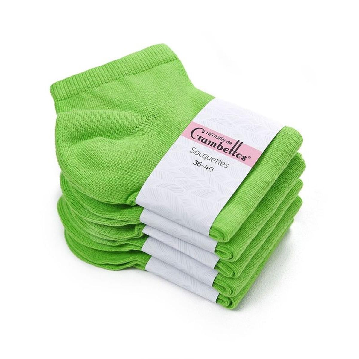 Socquettes Femme coton Vert Prairie (Lot de 5) - Fabriqué en europe