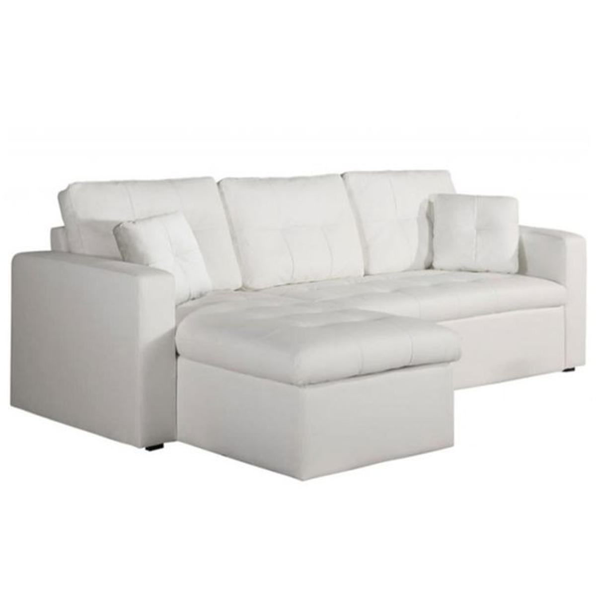 Canapé d'angle 3 places modulable et convertible blanc Enzo