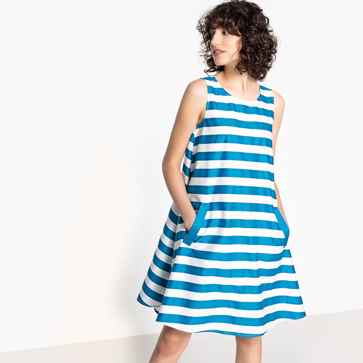 Платье-трапеция в полоску с бантом сзади