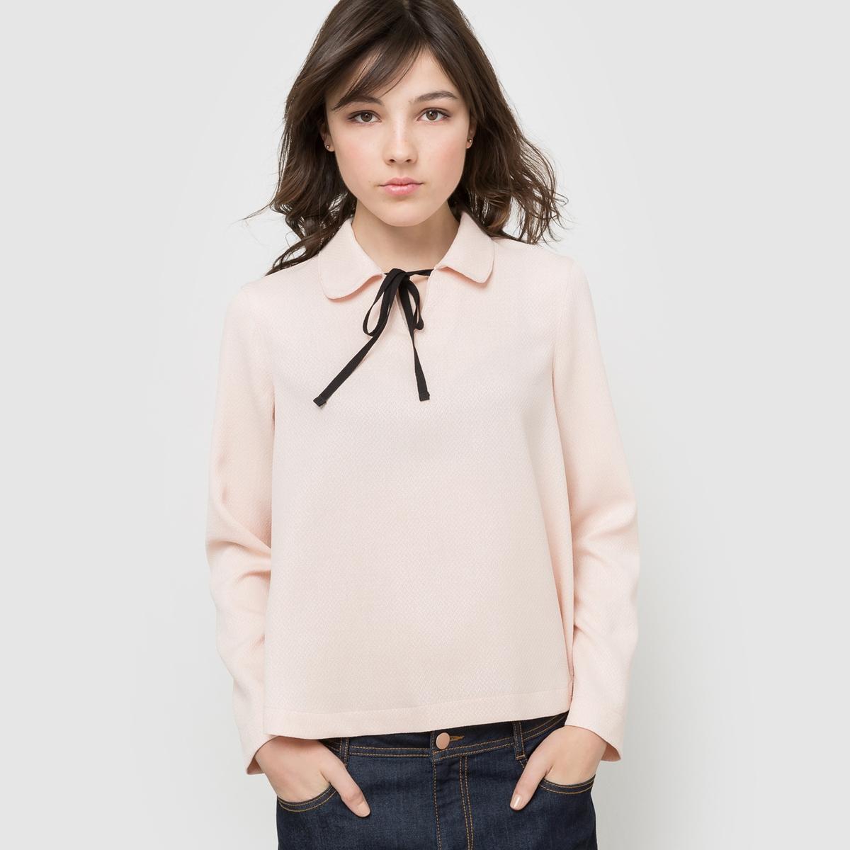 Блузка с отложным воротником на завязке