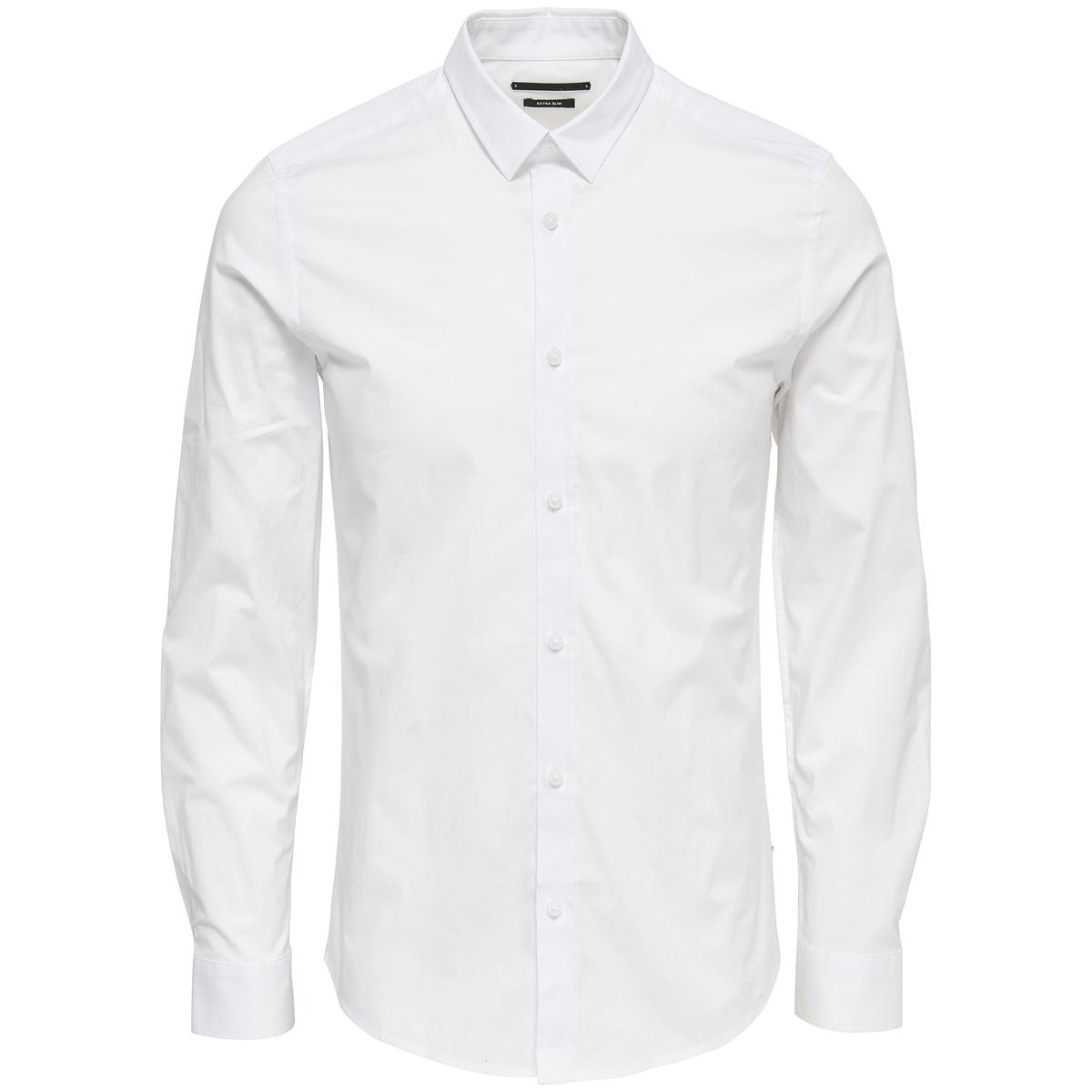 Рубашка приталеннаяДетали  •  Длинные рукава  •  Приталенный покрой •  Классический воротникСостав и уход  •  97% хлопка, 3% эластана •  Следуйте советам по уходу, указанным на этикетке<br><br>Цвет: белый,синий морской,черный<br>Размер: M.S
