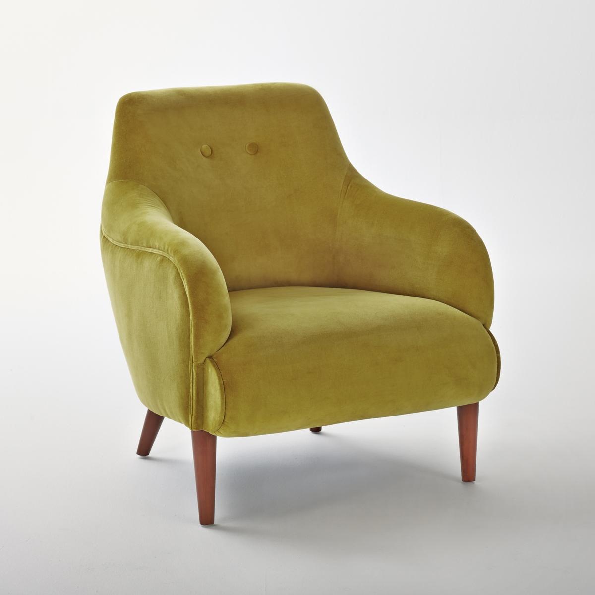 Кресло LaRedoute Из велюра Lipstick единый размер желтый