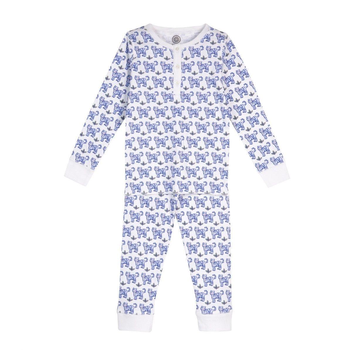 Pyjama en coton bio - Imprimé Tigre bleu