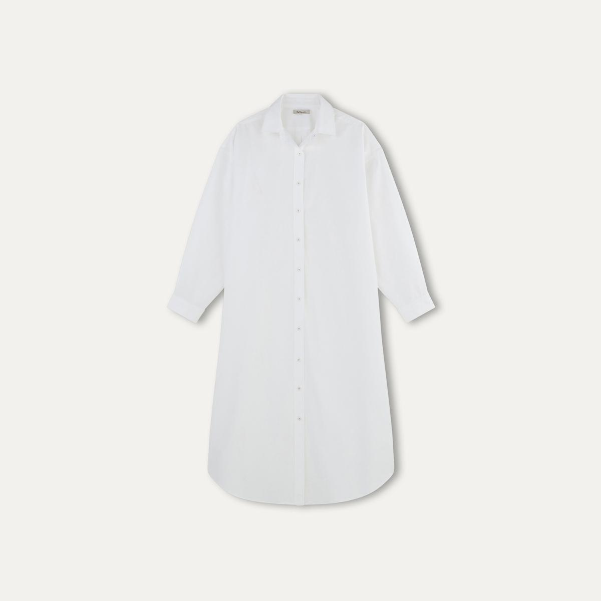 Платье-рубашка KAMISETA LONGПлатье-рубашка длинное - модель KAMISETA LONG 100% хлопок. Рубашечный воротник. Застежка на пуговицы спереди и манжет . длинные рукава. Прямой покрой. Закругленный низ.  Состав и описание:    Материал : 100% хлопок   Марка : MES DEMOISELLES<br><br>Цвет: белый,зелено-синий<br>Размер: S/M