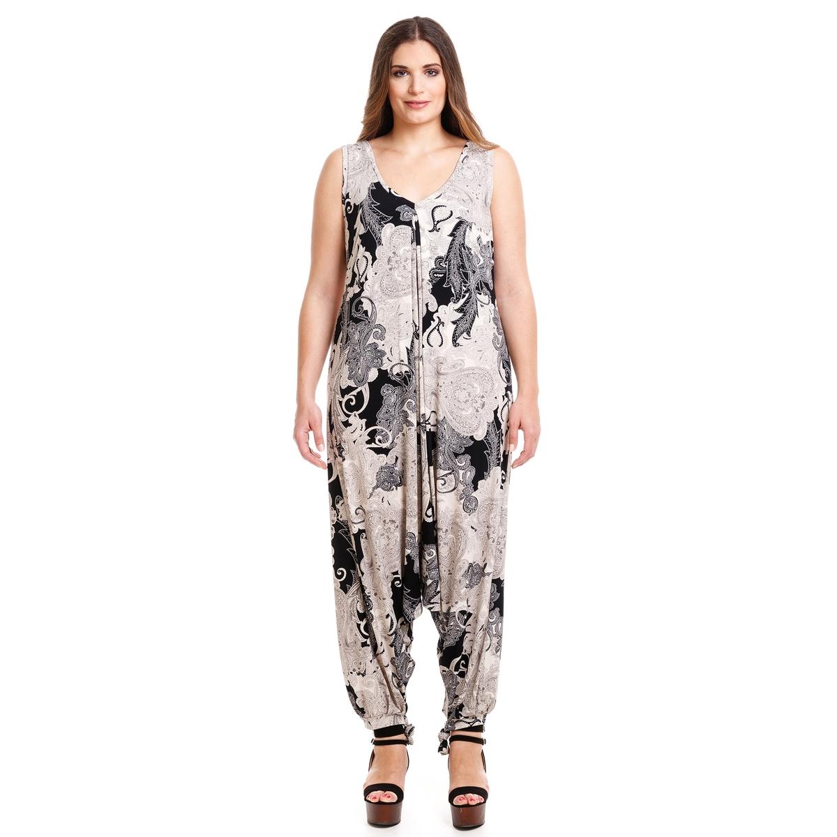 Комбинезон с брюкамиКомбинезон с брюками, MAT FASHION. Струящийся комбинезон без рукавов с кашемировым рисунком. Завязки на щиколотках. 94% полиэстера, 6% эластана<br><br>Цвет: набивной рисунок<br>Размер: 44/48