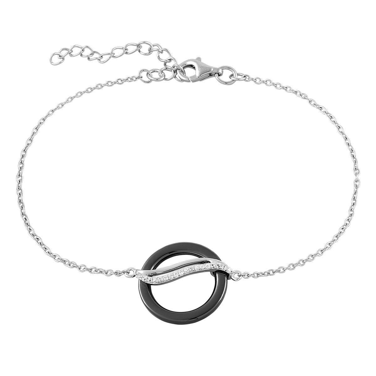 Bracelet en Céramique Noire et Oxyde