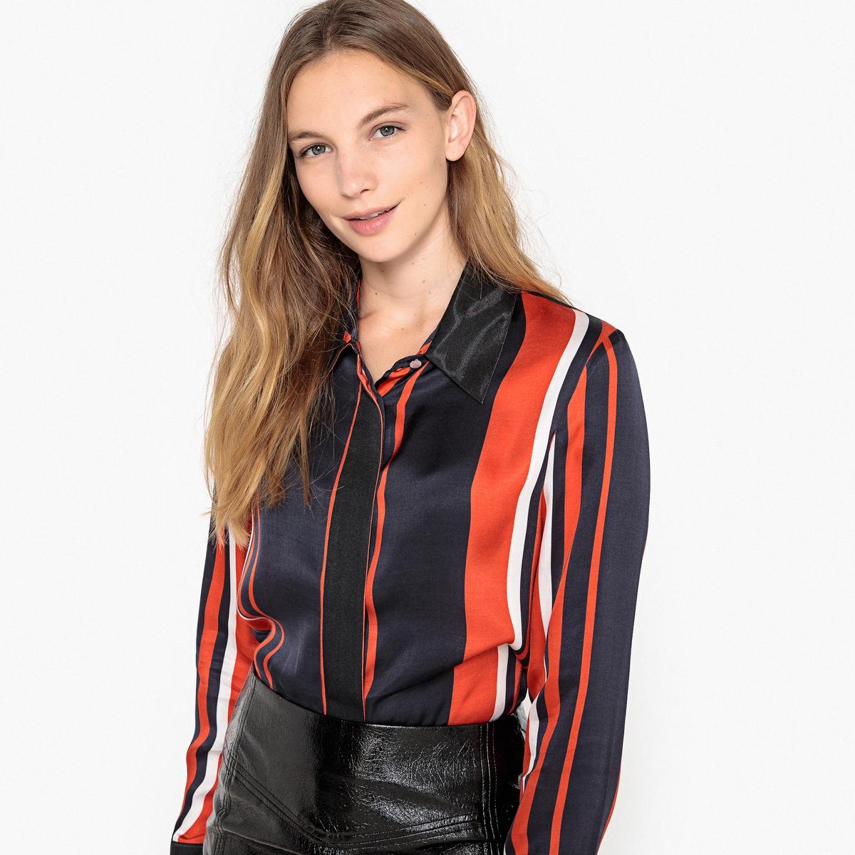 Camisa con forma cuadrada, a rayas negro y rojo