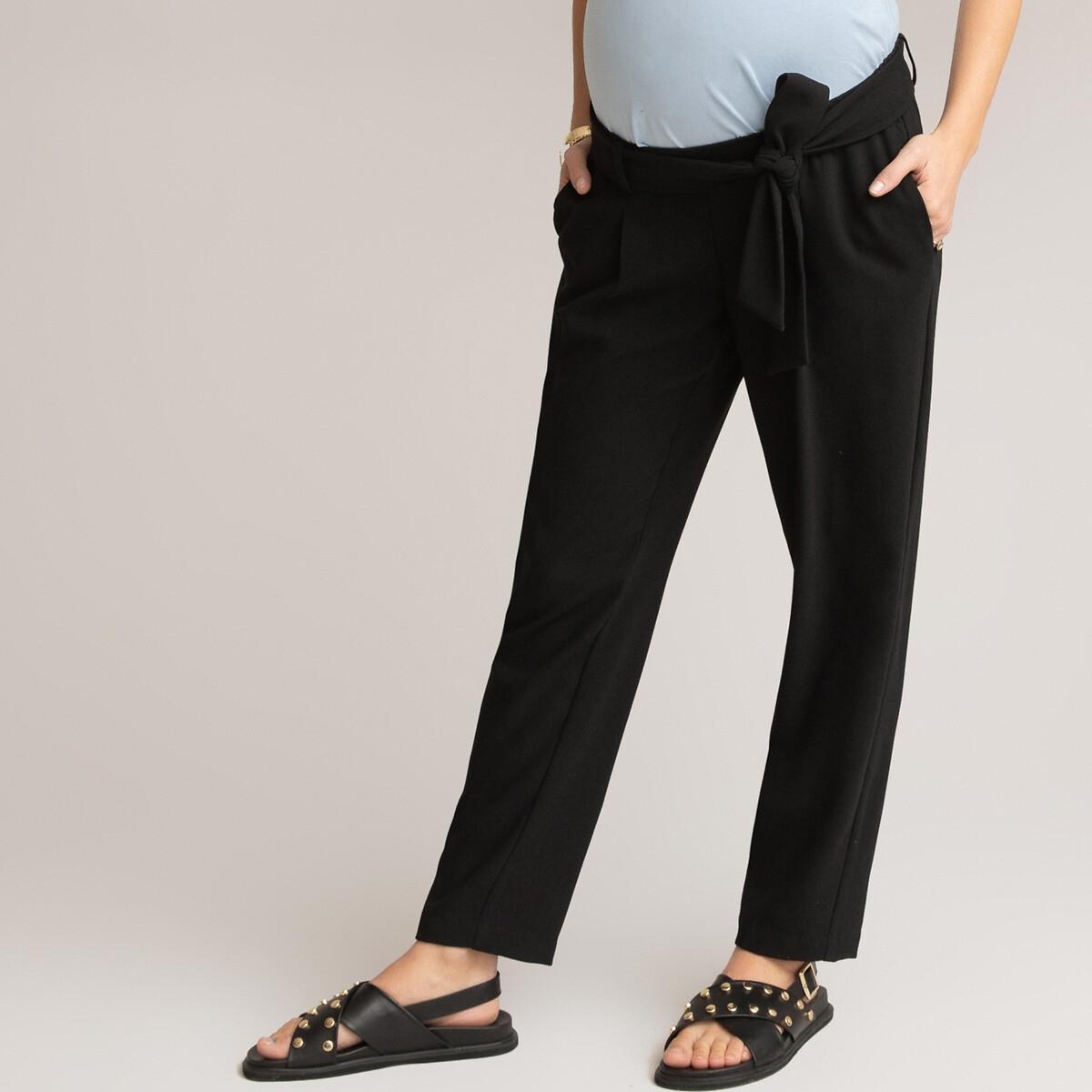 Брюки LaRedoute Для периода беременности прямые высокий пояс 42 (FR) - 48 (RUS) черный брюки laredoute для периода беременности из велюра velvet 42 fr 48 rus бежевый