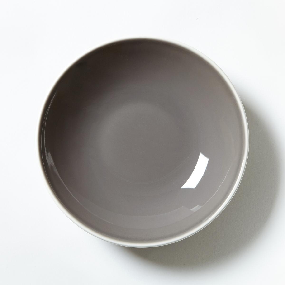 4 тарелки с дизайнерским рисункомХарактеристики 4 глубоких тарелок с дизайнерским строгим рисунком :- Из фаянса с матовой отделкой .- Диаметр 21 см .- Подходит для посудомоечной машины и микроволновой печи   .Десертные тарелки и плоские тарелки из комплекта продаются на сайте laredoute .ru<br><br>Цвет: серо-коричневый