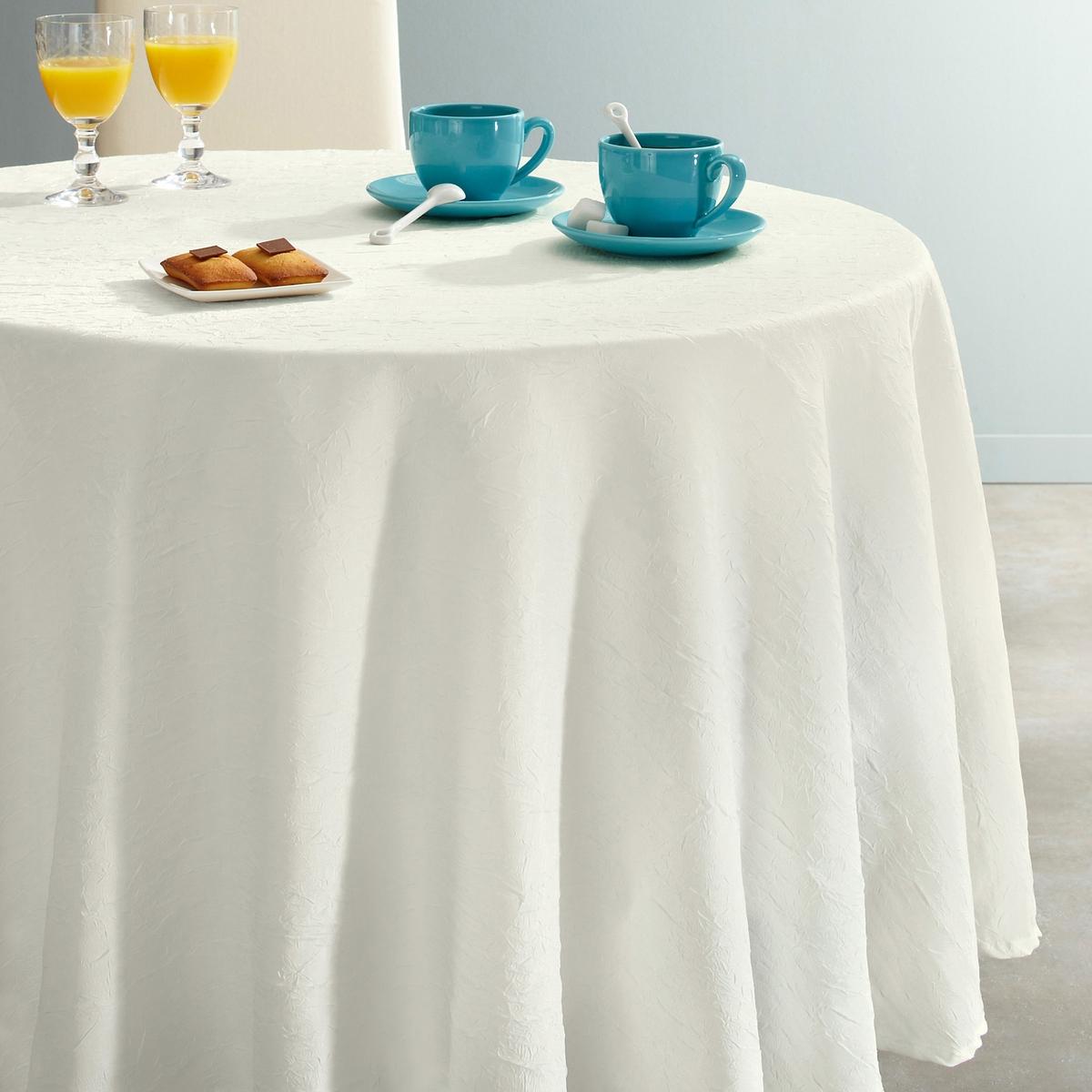 Скатерть круглая CERYAS из полиэстера, с эффектом жатой ткани.Круглая скатерть CERYAS из полиэстера, с эффектом жатой ткани. Скатерть украсит Ваш стол, она проста в уходе: полиэстер с эффектом жатой ткани высыхает за 5 минут и не требует глажки! Характеристики:Материал: 100% полиэстераУход: машинная стирка при 40°С.Отделка: подрубленный край с прострочкой.Высыхает за 5 минут. Не гладить.Размеры:- Диаметр 180 см.Существуют и другие размеры на сайте la Redoute.ru.<br><br>Цвет: экрю<br>Размер: 180  см