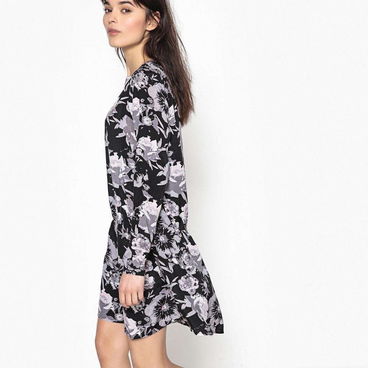 Sukienka rozkloszowana, w kwiatki, średnia długość