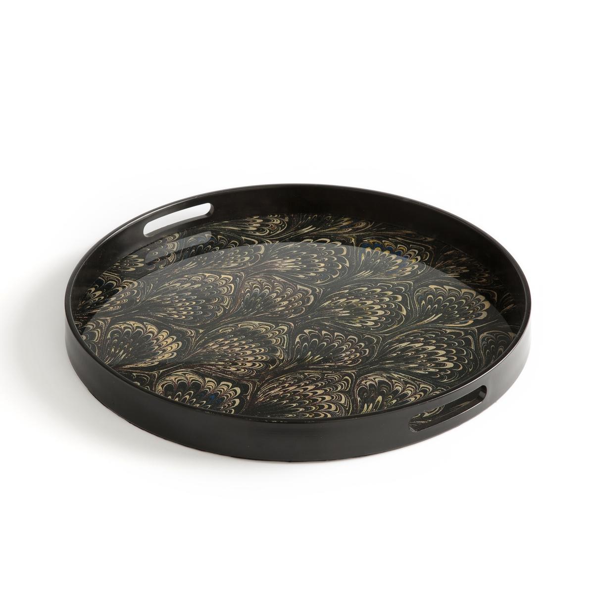Поднос La Redoute Круглый из стекла Makana единый размер черный