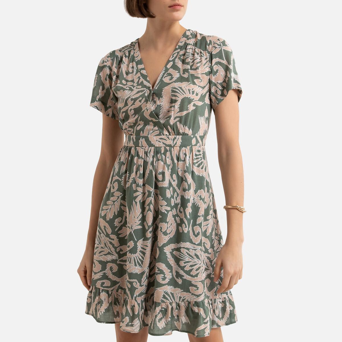 Платье LaRedoute Короткое V-образный вырез короткие рукава 2(M) оранжевый