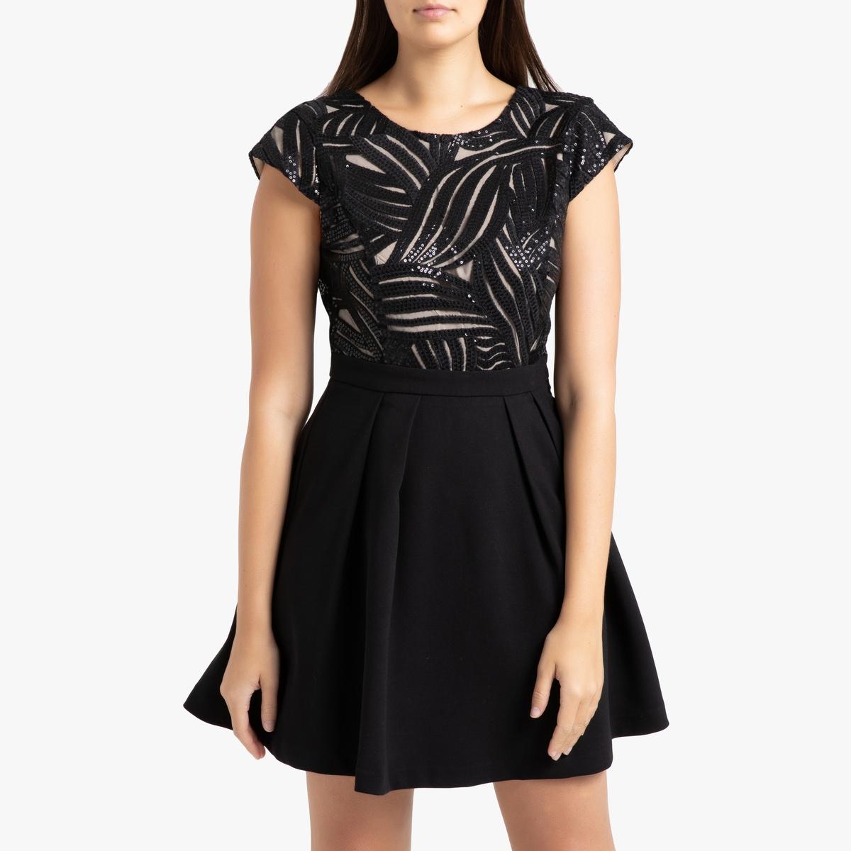 Платье La Redoute Короткое с блестками и короткими рукавами CHERRY 3(L) черный