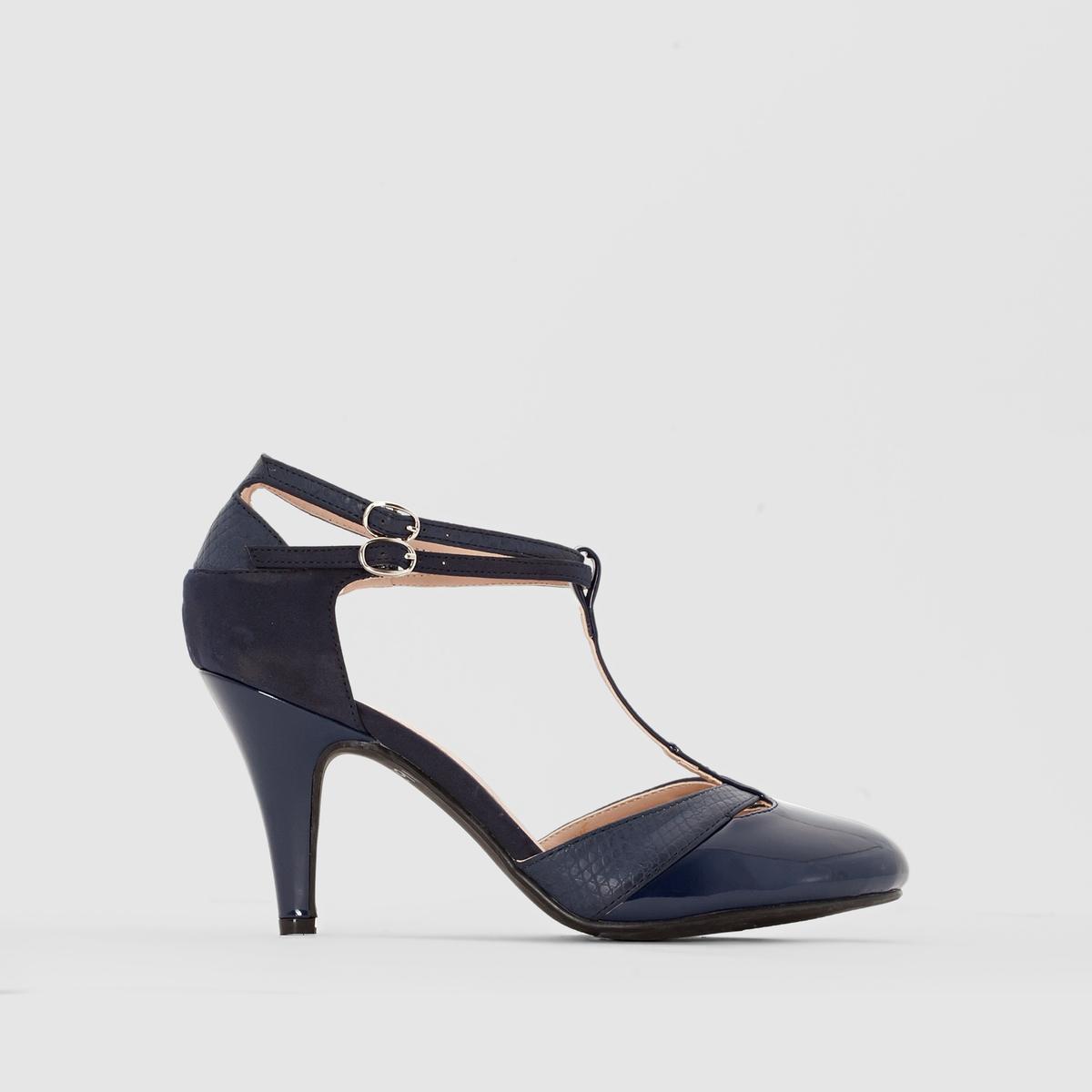 Туфли на каблукеМарка : CASTALUNAПодходит : для широкой стопы.Верх : искусственная замша, лакированная синтетика под кожу питона.Подкладка : синтетикаСтелька : кожа.Подошва : из эластомера .Каблук  : 8,5 см.Преимущества : Идеальны для повседневной одежды.<br><br>Цвет: синий морской<br>Размер: 45