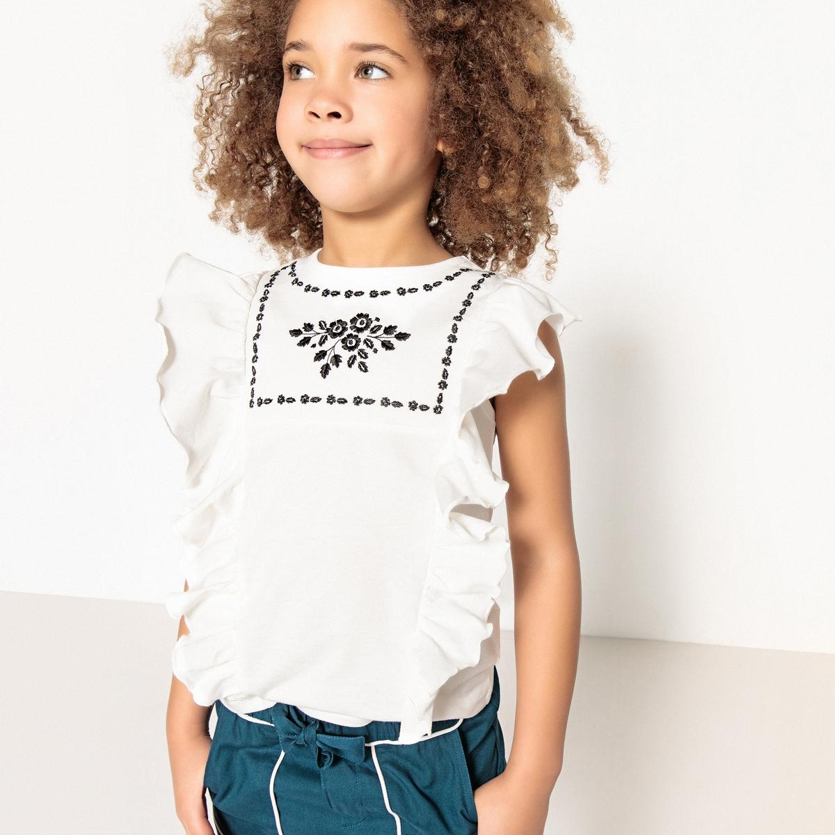 Футболка с вышивкой и воланами, 3-12 лет футболка с вышивкой и воланами 3 12 лет