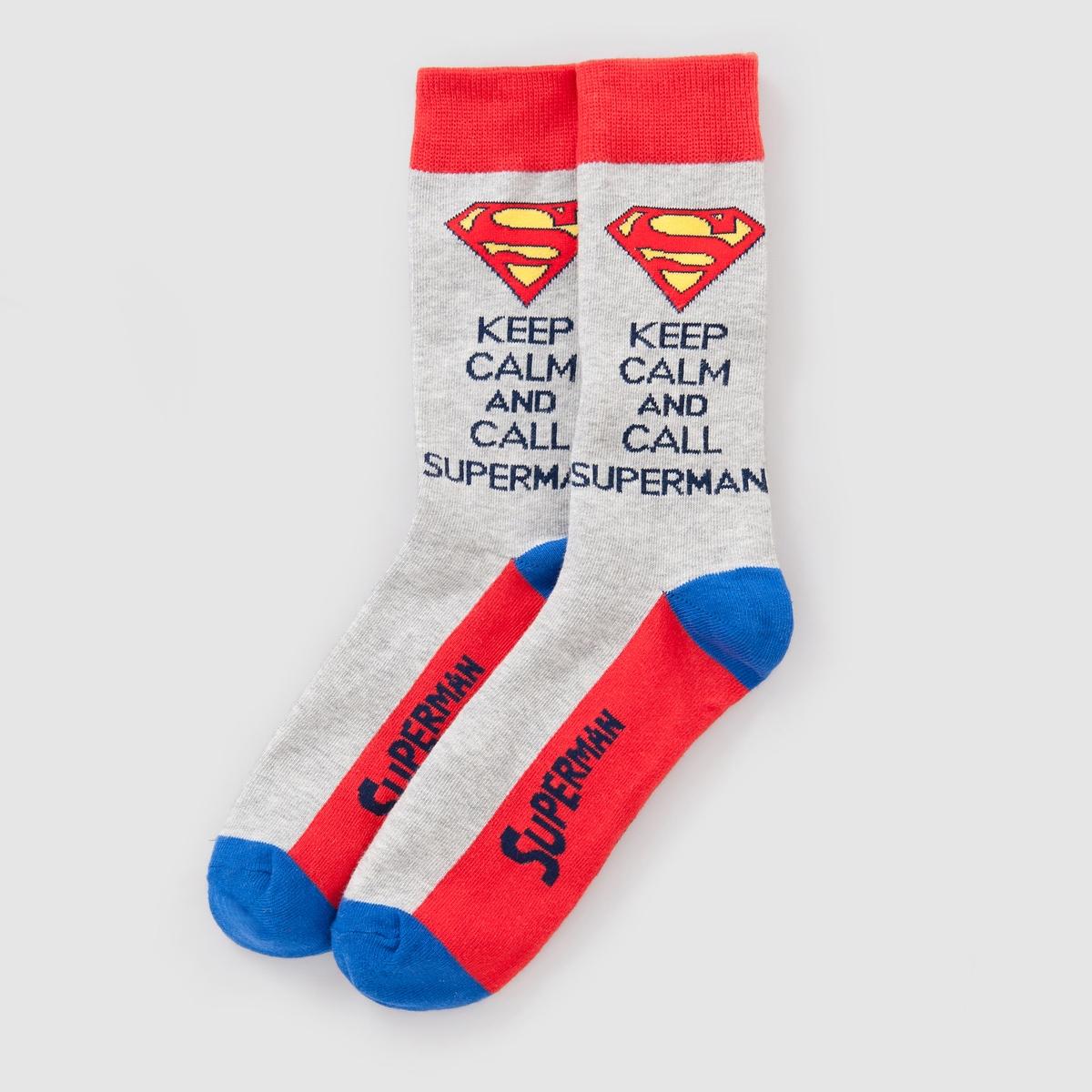 Носки  SUPERMANСостав и детали:Материал: 75% хлопка, 20% полиамида, 5% эластана.    Марка: SUPERMAN.Уход:Машинная стирка при 30°.<br><br>Цвет: серый/ красный<br>Размер: 43/45