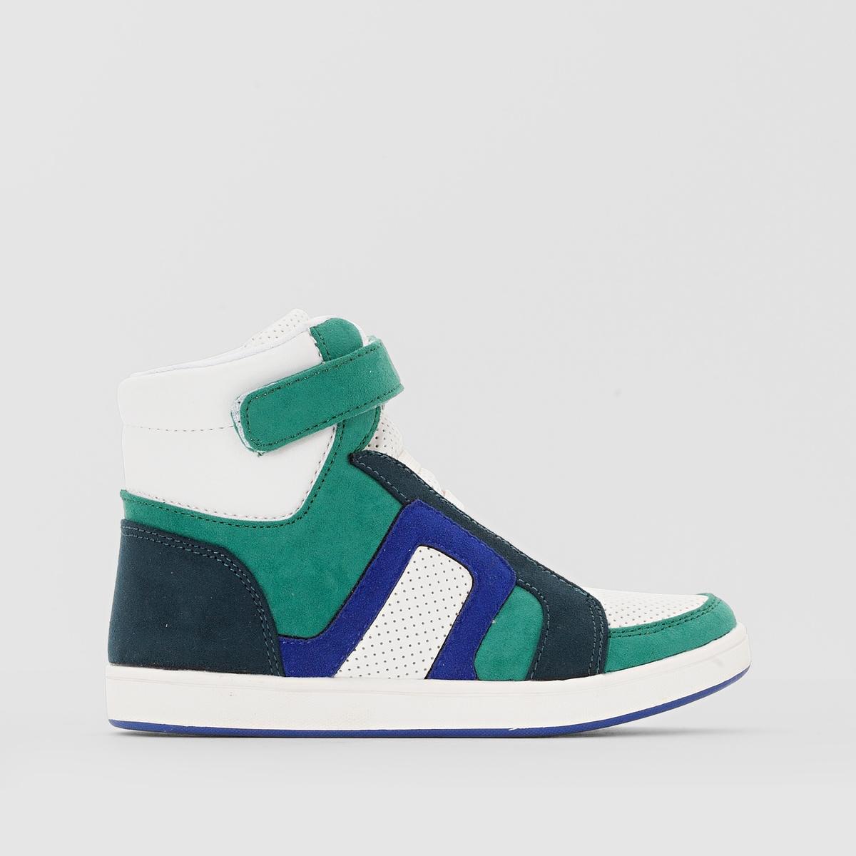 Кеды высокие на эластичной шнуровкеВерх : синтетика           Подкладка : текстиль           Стелька : текстиль           Подошва : эластомер           Застежка : эластичная шнуровка<br><br>Цвет: белый + синий + зеленый<br>Размер: 39.37.34.33.32