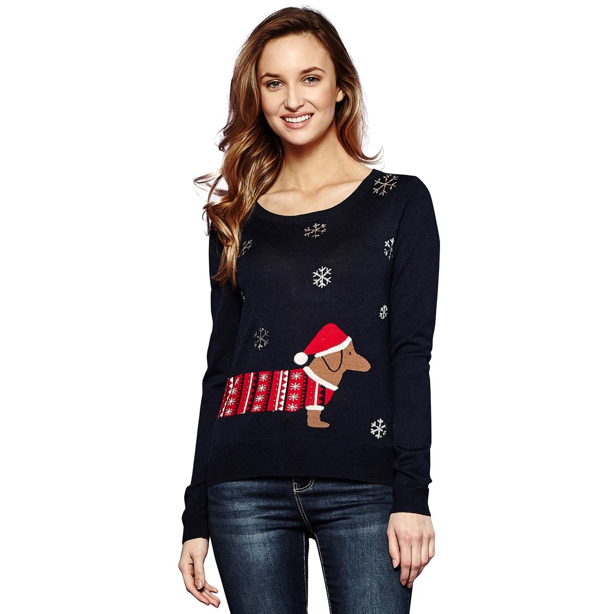Пуловер с круглым вырезом из тонкого трикотажаДетали •  Длинные рукава •  Круглый вырез •  Тонкий трикотаж  •  Рисунок спередиСостав и уход •  8% шерсти, 25% акрила, 20% полиамида, 47% полиэстера   •  Следуйте советам по уходу, указанным на этикетке<br><br>Цвет: темно-синий