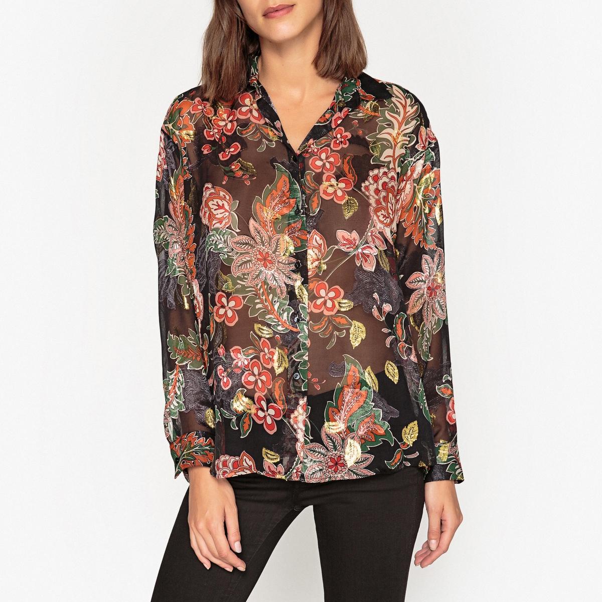 Рубашка прозрачная с рисунком