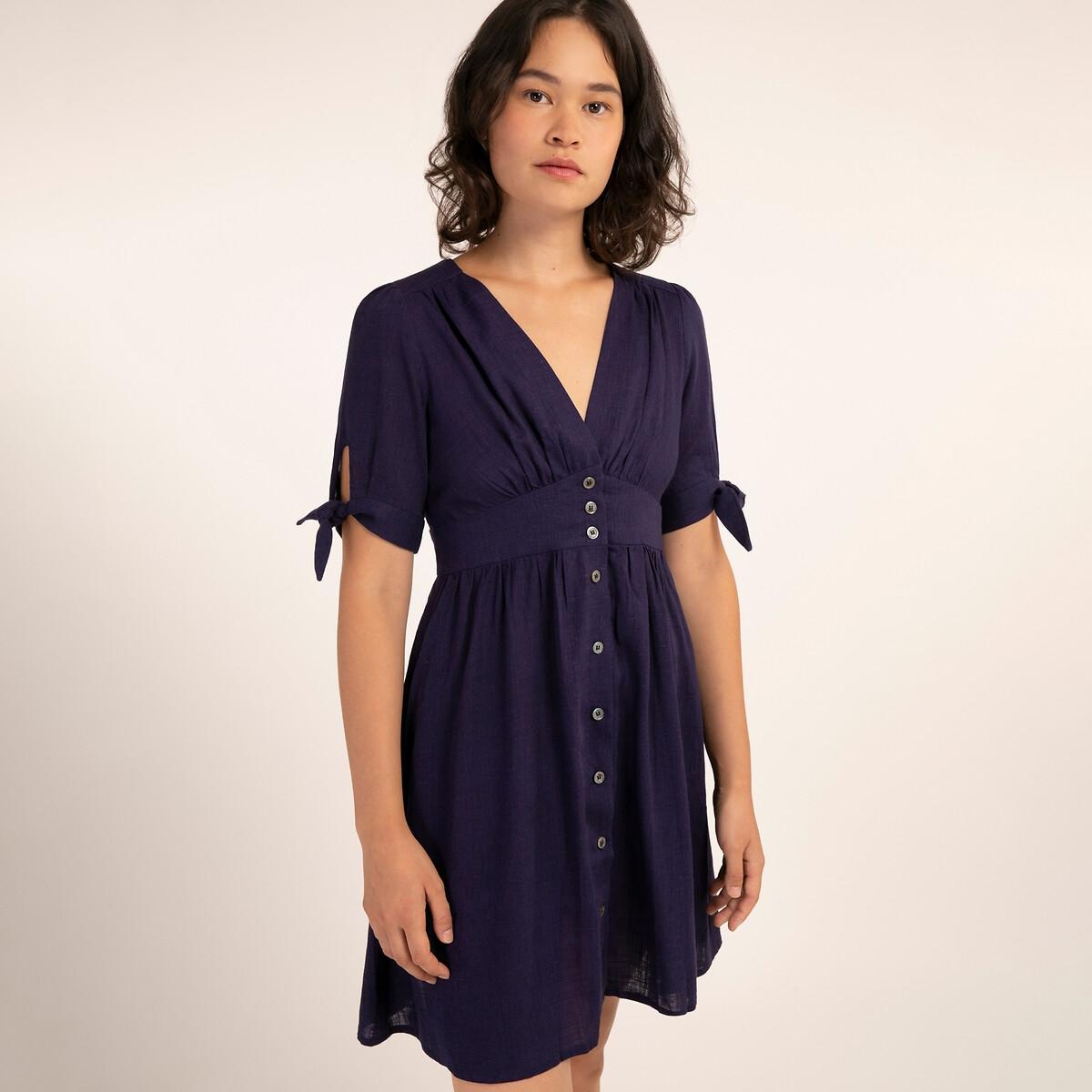 Платье LaRedoute Расклешенное короткое с короткими рукавами AMELYS L синий
