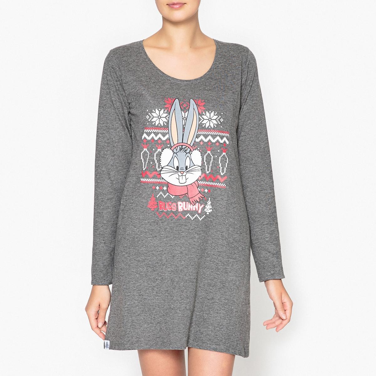 Рубашка ночная с рисунком, Bugs Bunny толстовка для девочки baby looney tunes сиреневая с рисунком