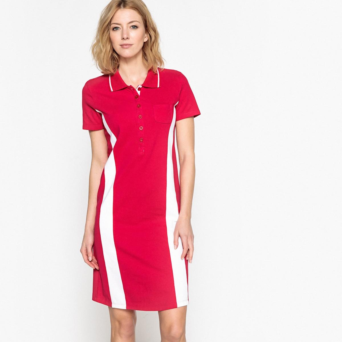 Платье из трикотажа пике с короткими рукавами