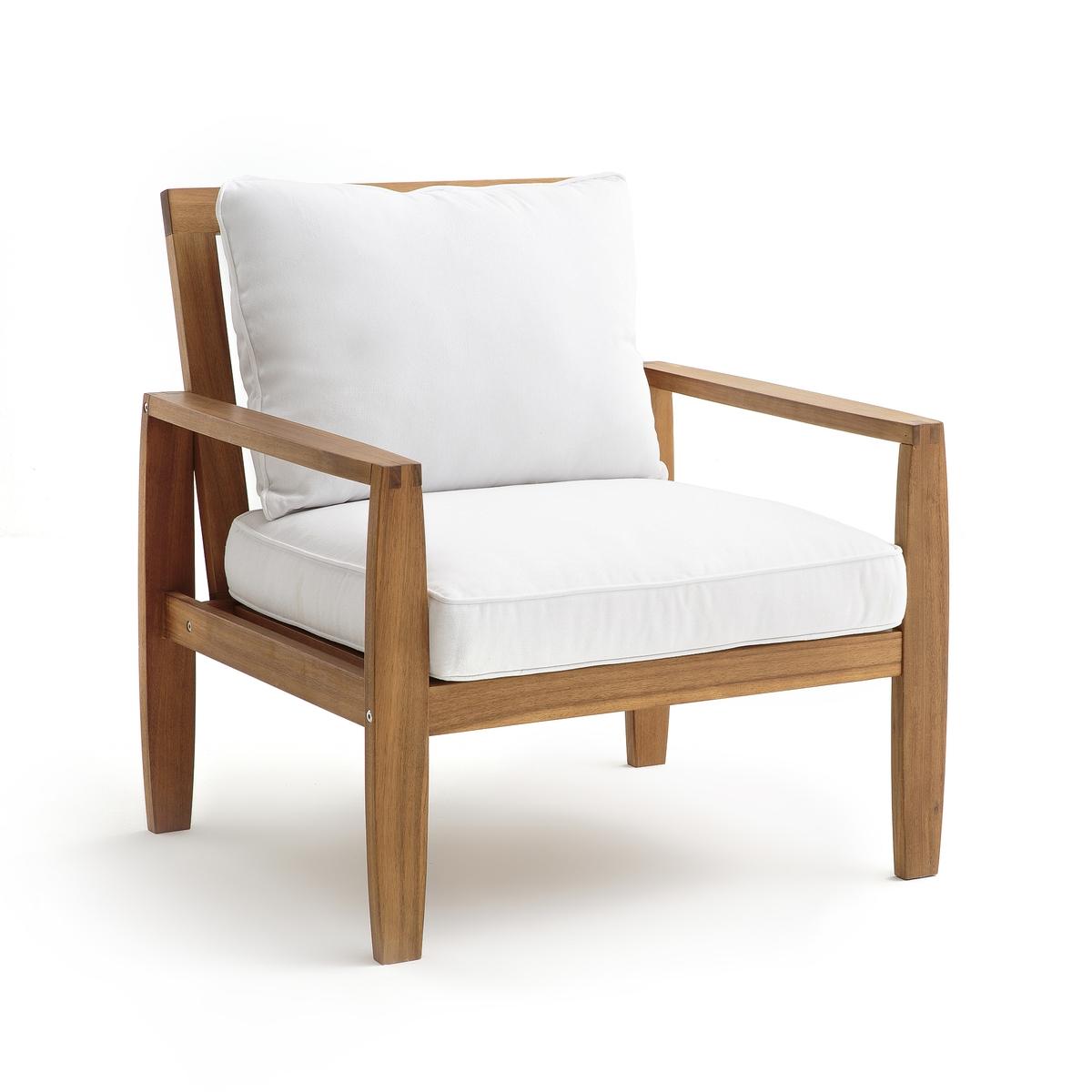 Кресло для сада из акации, ArtimonКресло для сада Artimon. Комфортное кресло для сада или веранды.Характеристики: - Из акации, покрытой маслом- Подушки-валики с чехлами из 100 % хлопка и наполнителем из пеноматериала из полиэстера - Съемные чехлы, сухая чисткаРазмеры: - Ш80 x В83,5 x Г78 см- Сиденье: Ш6 x В42 x Г44 смРазмеры и вес ящика:- Ш74,5 x В30 x Г63 см, 17,3 кгДоставка:.<br><br>Цвет: дерево/белый