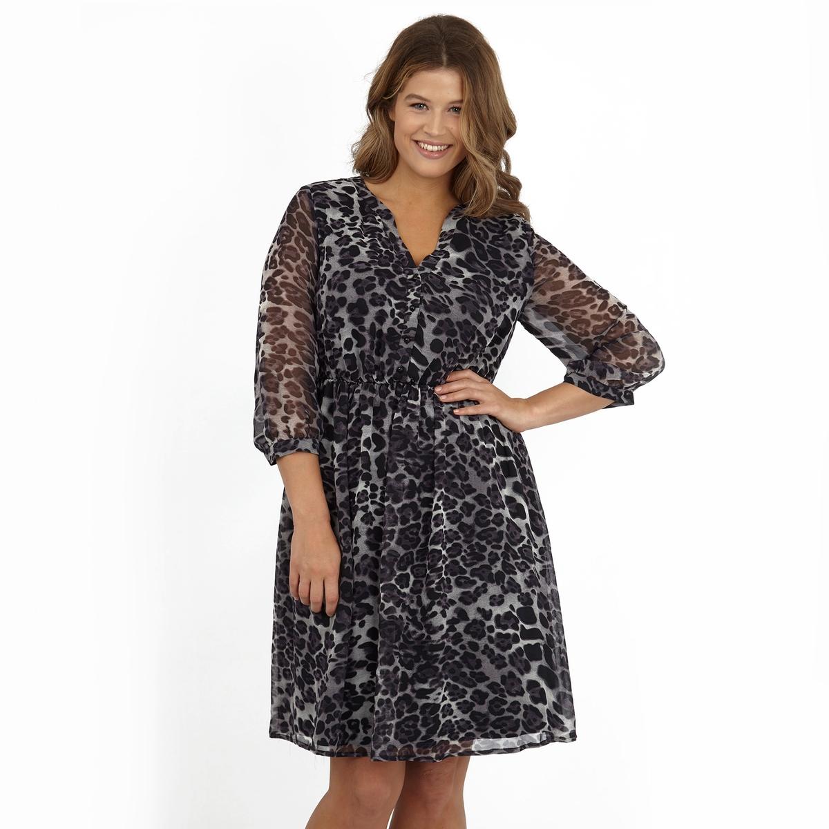 ПлатьеПлатье с длинными рукавами KOKO BY KOKO. Красивый глубокий V-образный вырез. 100% полиэстер.<br><br>Цвет: набивной рисунок<br>Размер: 58/60 (FR) - 64/66 (RUS).54/56 (FR) - 60/62 (RUS)