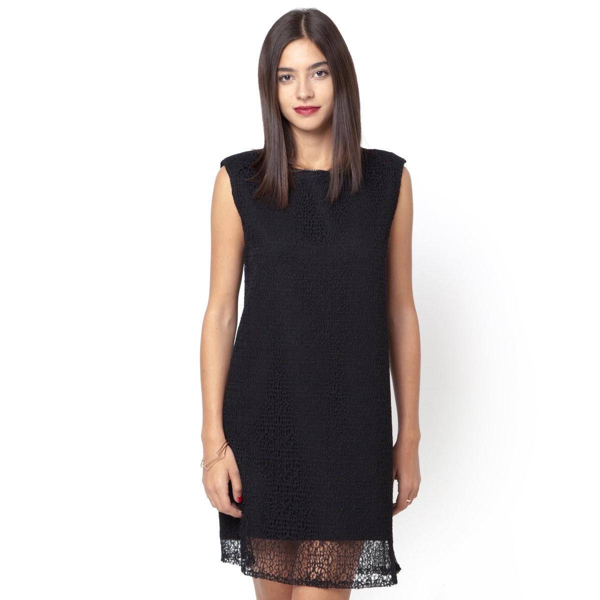 ПлатьеПлатье SUNCOO. 100% полиэстера. Без рукавов. Круглый вырез.<br><br>Цвет: черный<br>Размер: 1(S).2(M)