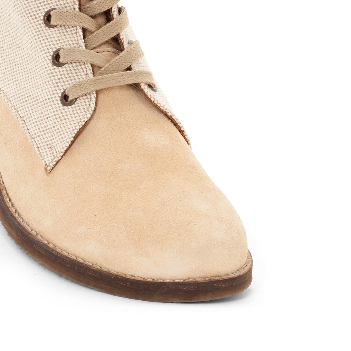 Ботильоны кожаныеОписание:Детали  •  Застежка : шнуровка •  Круглый мысок •  Велюровая отделка, нубукСостав и уход  •  Верх 100% кожа •  Подкладка 100% полиэстер<br><br>Цвет: бежевый<br>Размер: 37.36