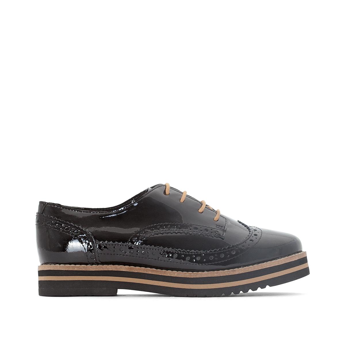 Ботинки-дерби лакированные AvoДетали   •  Ботинки-дерби •  Высота каблука : 3 см •  Застежка : шнуровка. •  Заостренный мысок •  ЛакированныеСостав и уход   •  Верх 100% яловичная кожа •  Подкладка 100% синтетический материал •  Стелька 100% кожа •  Подошва 100% каучук<br><br>Цвет: красный/ бордовый,черный