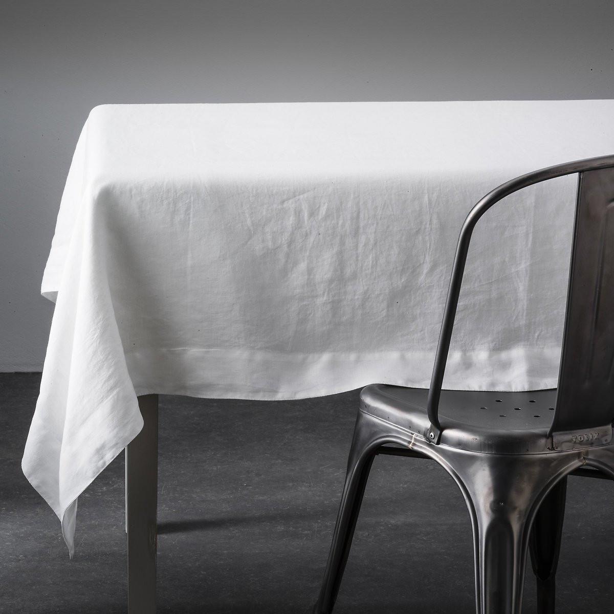 Скатерть LaRedoute Из льна Linette 180 x 250 см белый чехол laredoute для кровати 100 льна 160 x 200 см белый