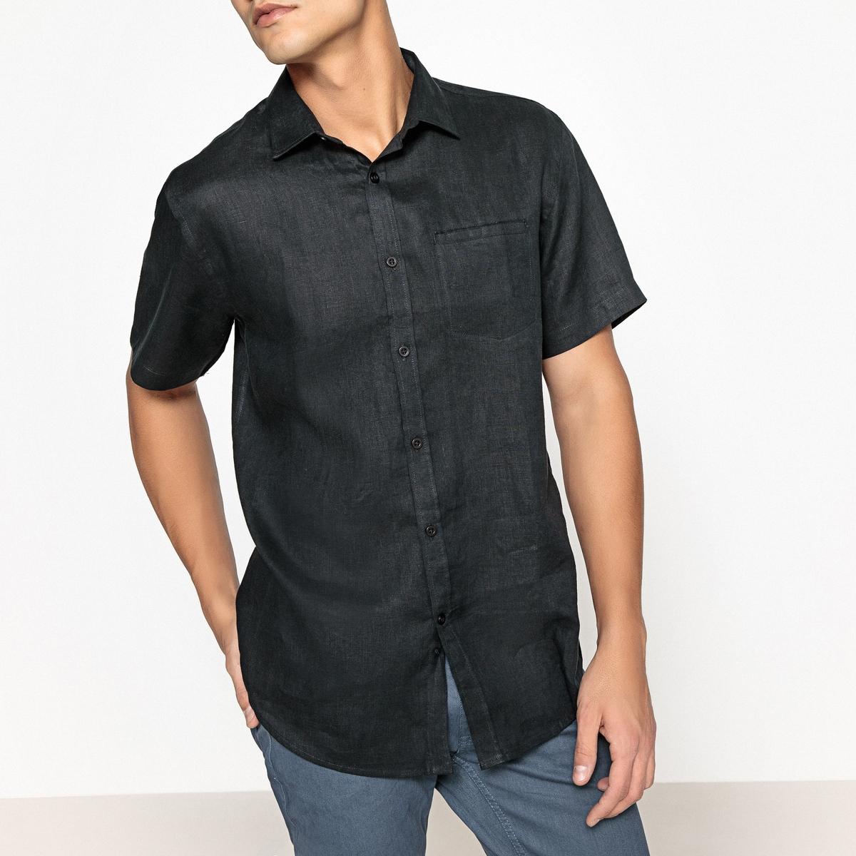 Рубашка La Redoute С короткими рукавами из льна Clment 35/36 черный
