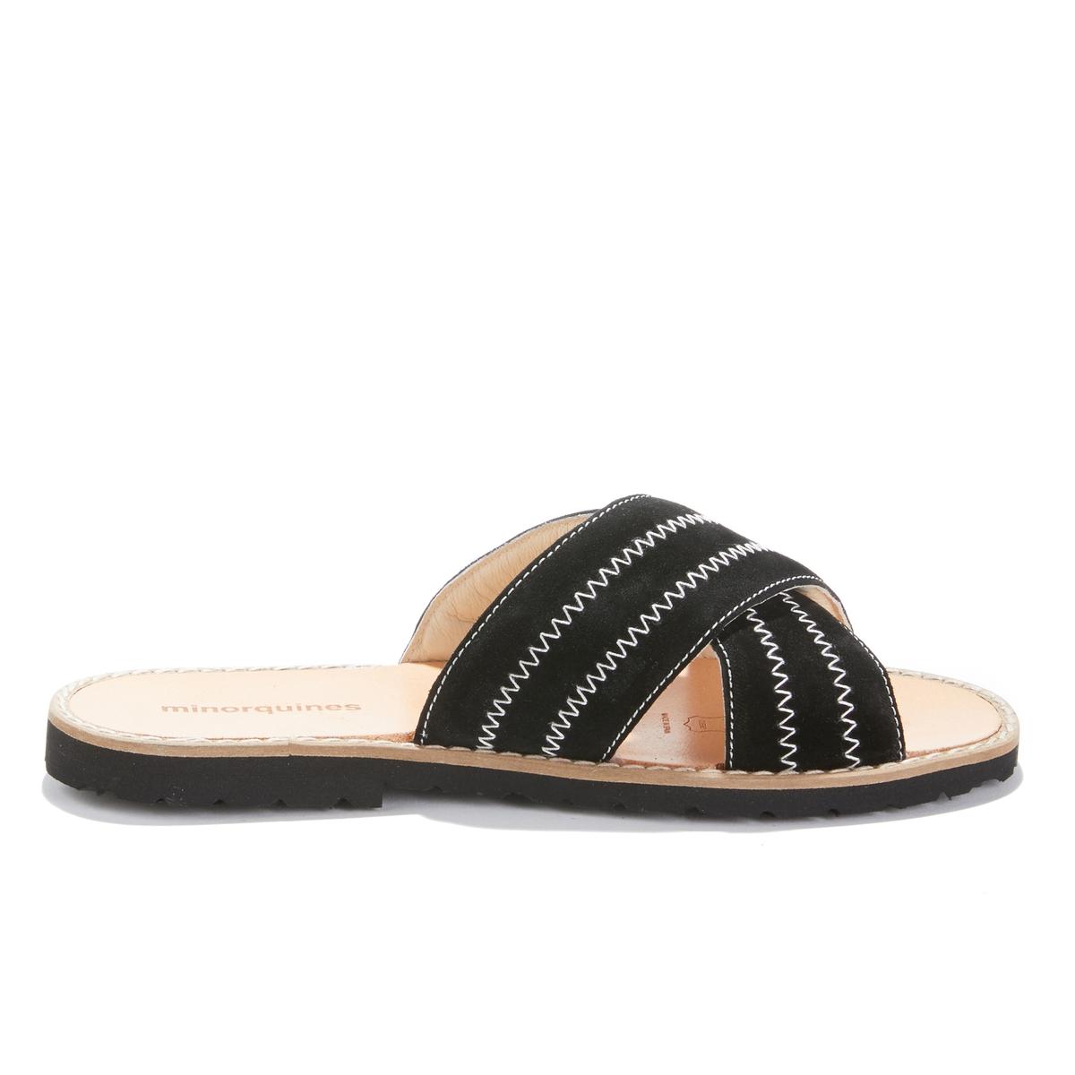 Туфли La Redoute Без задника кожаные на плоском каблуке MULES BERLIN 39 черный туфли без задника кожаные с блестящими деталями