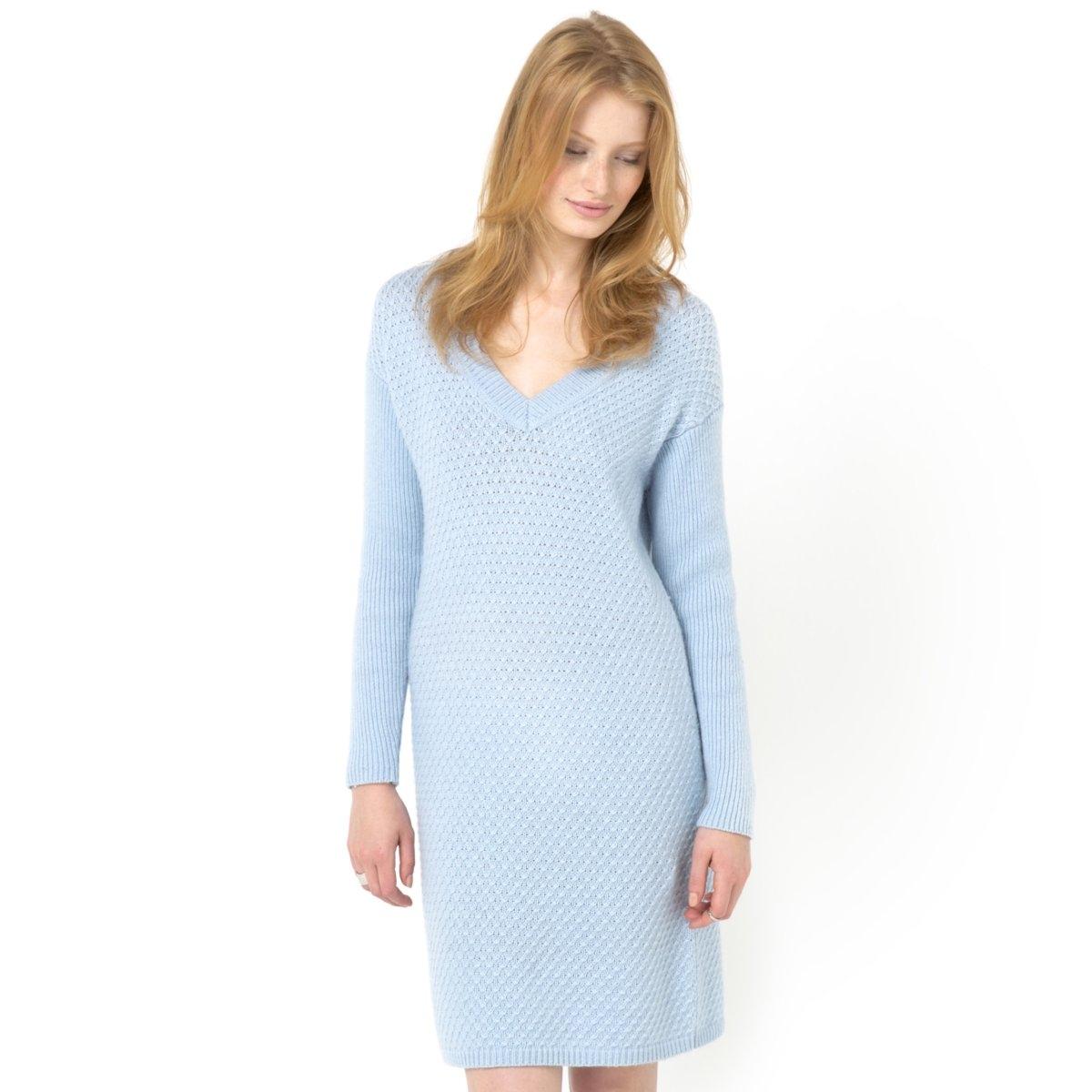 Платье трикотажное<br><br>Цвет: небесно-голубой<br>Размер: 38/40 (FR) - 44/46 (RUS)