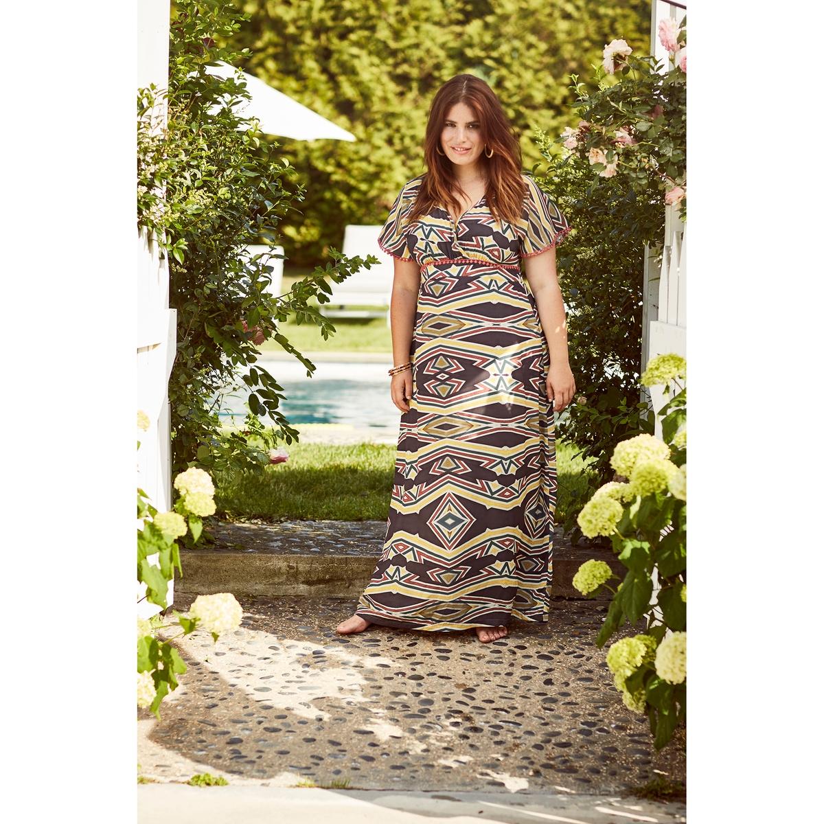 ПлатьеПлатье - MAT FASHION. 98% полиэстера, 2% эластана. Длинное платье с короткими рукавами из легкой и струящейся ткани с рисунком в этническом стиле и контрастным узором . V-образный вырез с эффектом запаха. Глубокий вырез с эластичными краями на завязках сзади.<br><br>Цвет: набивной рисунок