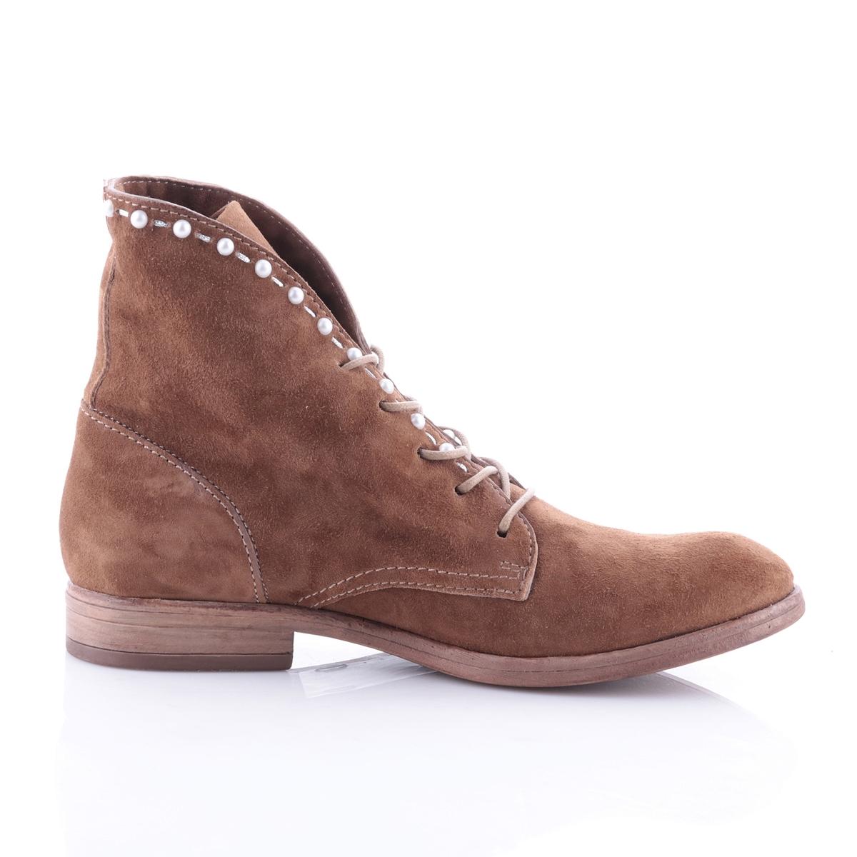 Ботильоны кожаные на молнии на плоском каблуке из спилка, Nicole ботинки из спилка