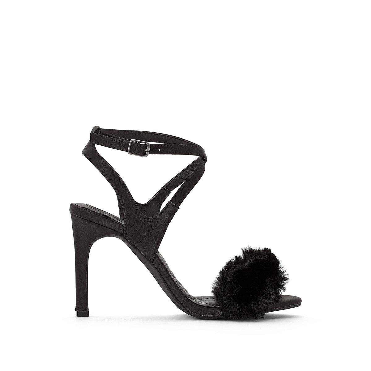 Босоножки на высоком каблуке со вставкой из искусственного меха цены онлайн